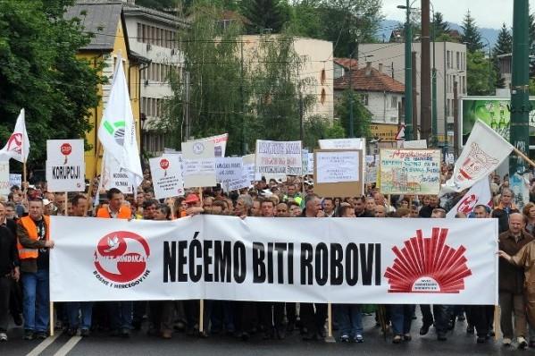 Foto: AFP / Elvis Barukčić / Generalni štrajk u BiH 2013.