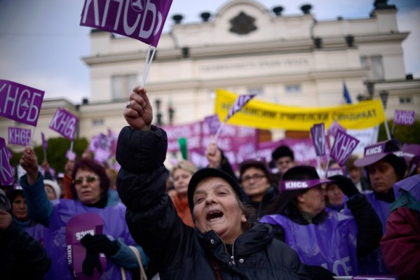 Foto: AFP / Nikolaj Dojčinov / Prosvjed sindikalnih središnjica protiv mjera štednje