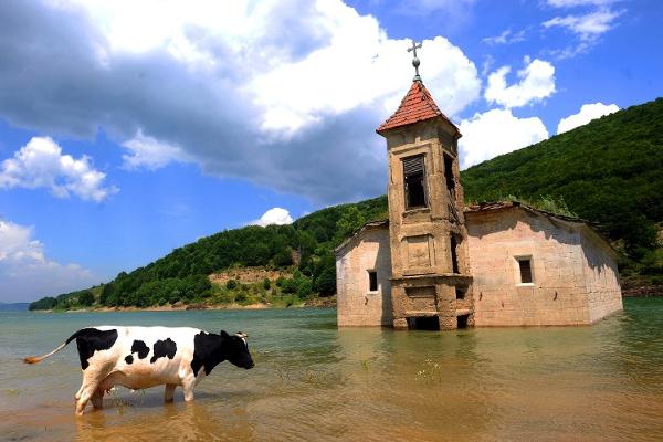 Foto: AFP / Robert Atanasovski / Potopljena crkva u nacionalnom parku Mavrovo